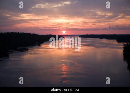 Sunrise St Lawrence River aka Saint Lawrence Seaway Thousand Islands from International Bridge New York to Ontario - Stock Photo