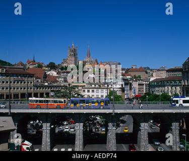 City of Lausanne Vaud Canton Switzerland - Stock Photo