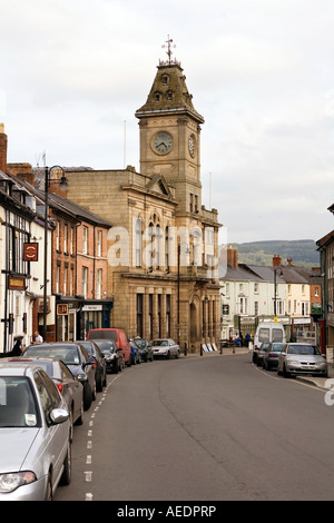 UK Wales Powys Welshpool High Street the Town Hall - Stock Photo