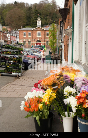 UK Wales Powys Montgomery Market Place Broad Street flower stall - Stock Photo