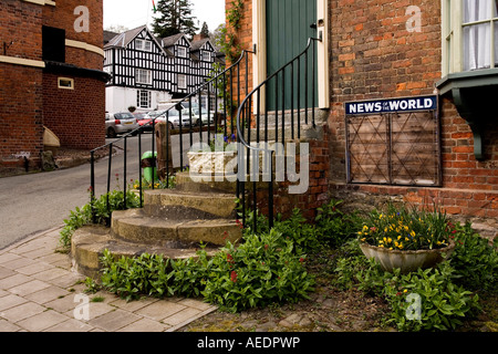 UK Wales Powys Montgomery Arthur Street tall steps to front door as flood prevention measure - Stock Photo