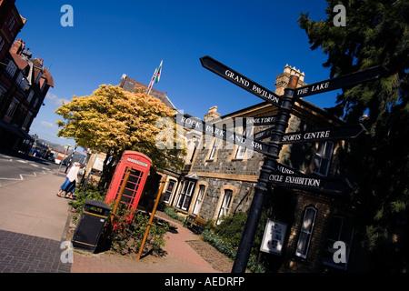 UK Wales Powys Llandrindod Wells Temple Road tourist information signs