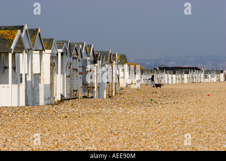 Beach huts on the beach at Lansing West Sussex - Stock Photo