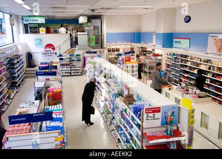 Boots pharmacy, London England UK - Stock Photo