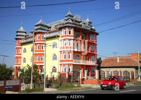 Gypsy house of rich wealthy Roma, Rroms family in Transylvania, Romania - Stock Photo