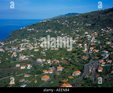 Aerial View village of Arco da Calheta Madeira Portugal Europe. Photo by Willy Matheisl - Stock Photo