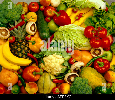 assortment of fruit and vegetables viewed from above - Stock Photo