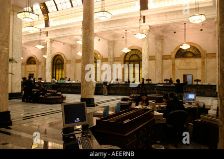 Shanghai China Interior of the old Hong Kong and Shanghai Bank on the Bund completed in 1921 symbolised European - Stock Photo