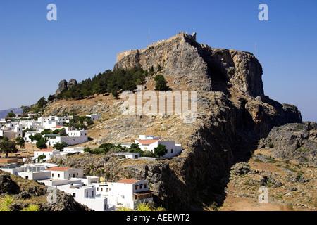 Acropolis Temple of Athena Lindos Rhodes Greece - Stock Photo