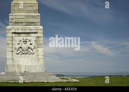 The coat of arms on the Lord Yarborough Monument, Bembridge Down / Culver Cliff, Isle of Wight, England, UK. - Stock Photo