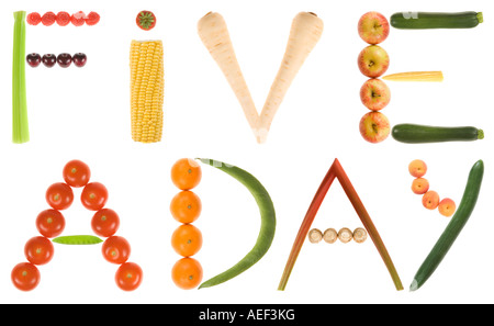 A 220mb file of the phrase 5 A DAY or FIVE A DAY using fruit and vegetables on a pure white background. - Stock Photo