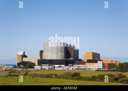Wylfa A atomic energy Nuclear Power Station exterior on the Isle of Anglesey, Cemaes, North Wales, UK, Britain - Stock Photo
