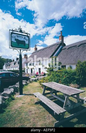 Black Bull pub, Etal village, Northumberland, UK - Stock Photo