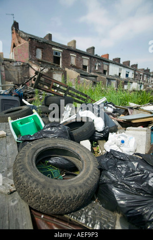 rubbish, illegally dumped in Blackburn, Lancashire, UK - Stock Photo