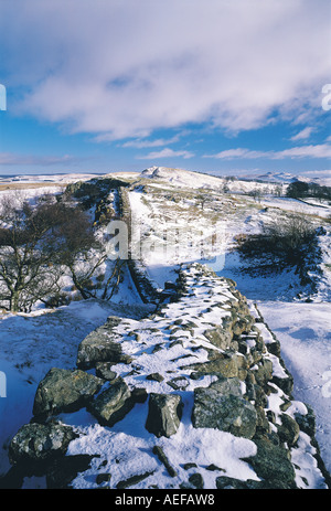 Walltown Crags in the snow, Hadrians Wall, Northumberland, UK - Stock Photo