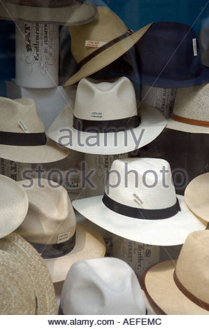 Panama Hats in shop window in in Jermyn Street in London CREDIT Geraint Lewis - Stock Photo