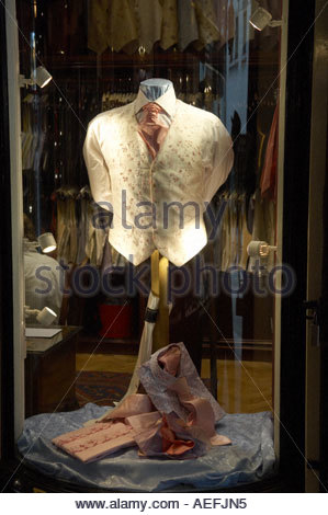 Shirt and waist coat in a shop in in Jermyn Street in London CREDIT Geraint Lewis - Stock Photo