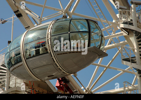 Passenger capsule on the London Eye, Southbank, London - Stock Photo