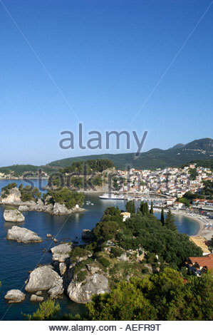 View over town and Kreoneri Beach Parga Epirus Greece - Stock Photo
