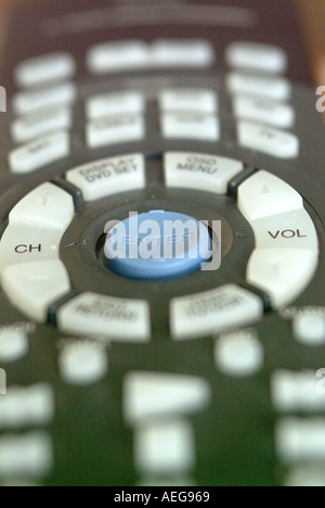 Sweet Home detail remote control keys buttons button white blue black home appliance electronic functions handy - Stock Photo