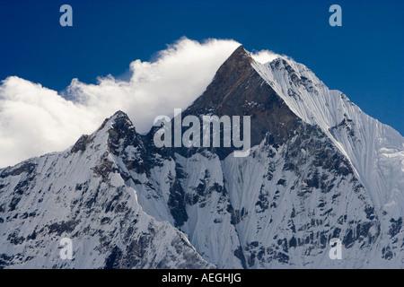Machhapuchhare, Fish Tail mountain seen fron the Annapurna Sanctuary, Nepal - Stock Photo