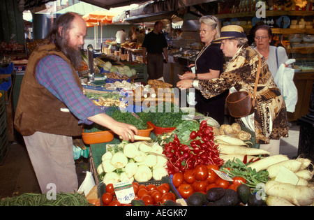 Germany Bavaria Munich vegetable stand at the Victuals Market - Stock Photo