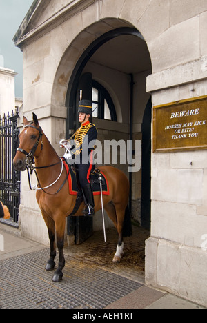 Vertical view of a female mounted Household Cavalry on duty at Horse Guards Parade on Whitehall. - Stock Photo