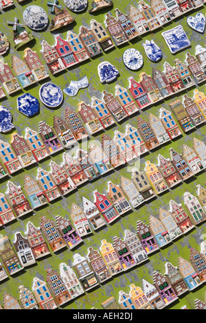 Amsterdam Souvenir magnets of gabled houses and and Delfts Blue items. - Stock Photo