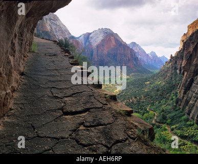 View of Zion National Park from trail in high country Utah - Stock Photo