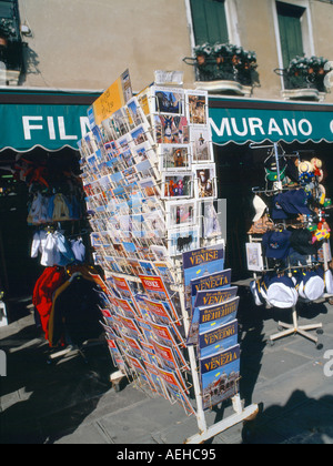 collection of view postcards on a street in venice, taly, - Stock Photo