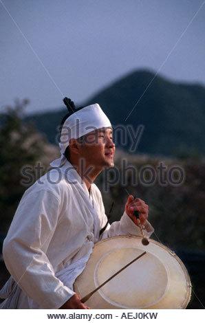 Musician Mask Dance drama Hahoe Yolshin guttal Nori Hahoe Folk Village South Korea - Stock Photo