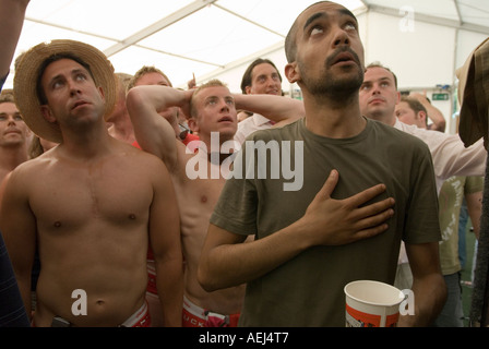 EngLISH FOOTBALL FANS  watching World Cup football match 2006. The World Cup England v Portugal a penalty shoot - Stock Photo