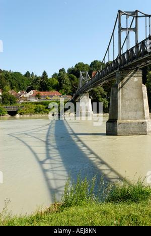 Passau Lower Bavaria Germany Fuenferlbridge across the river Inn - Stock Photo
