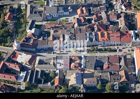 Little Tauern town Gmuend/Carinthia, aerial view, Carinthia, Austria - Stock Photo