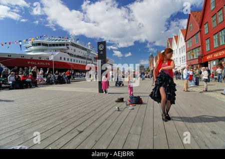 Flamenco dancer, Brygge, Bergen, Hordaland, Norway - Stock Photo
