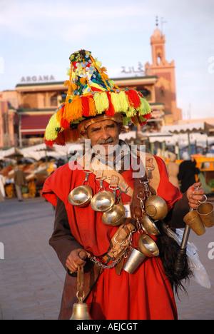 Water seller, Djemaa el Fna, Marrakesh, Morocco, Africa - Stock Photo