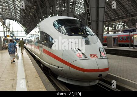 ICE train of DB, main station, Frankfurt, Hesse, Germany - Stock Photo