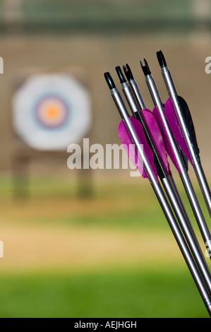 Arrows, outdoor target archery competition - Stock Photo