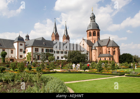 Former Benedictine abbey with Basilica, Seligenstadt, Hesse, Germany - Stock Photo