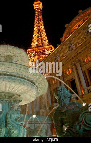 Fountain in front of Eiffel Tower on Las Vegas Boulevard at night Las Vegas Nevada United States of America USA - Stock Photo