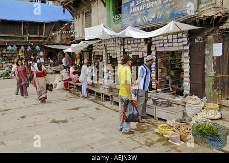 Traditional asian spice shop and pharmacy, Kathmandu, Nepal - Stock Photo