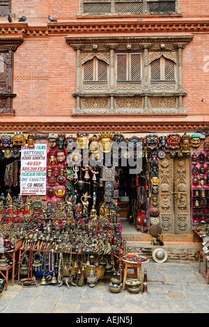 Shop with nepalese souvenirs, Swayambhunat Temple, Kathmandu, Nepal - Stock Photo