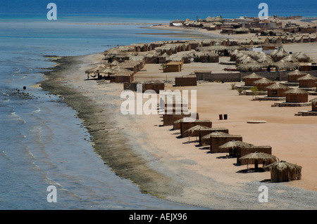 Tourist dwellings in a seacoast Bedouin resort village north to Nuweiba in Sinai Peninsula Egypt - Stock Photo