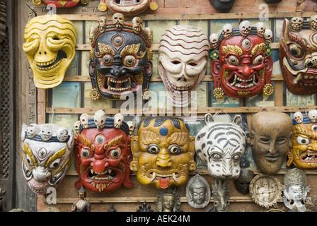 Nepalese dance mask, Swayambhunat Temple, Kathmandu, Nepal - Stock Photo