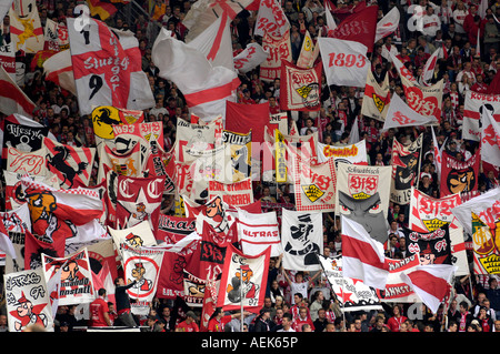 Sea of flags Gottlieb-Daimler-Stadion, Stuttgart, Baden-Wuerttemberg, Germany - Stock Photo