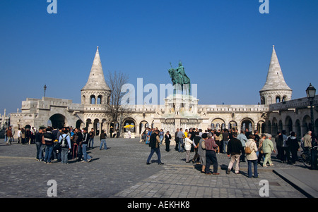 Fishermen's Bastion and Saint Stephen's (Szent Istvan) statue, Trinity Square, Castle Hill District, Budapest, Hungary - Stock Photo