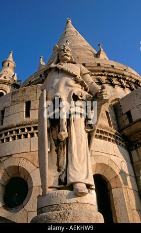 Fishermen's Bastion, Saint Stephen's (Szent Istvan) statue, Trinity Square, Castle Hill District, Budapest, Hungary - Stock Photo