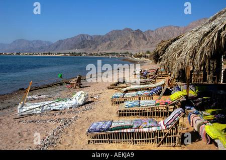 View of Nuweiba Tarabin beach in Nuweiba also spelled: Nueiba a coastal town in the eastern part of Sinai Peninsula, - Stock Photo