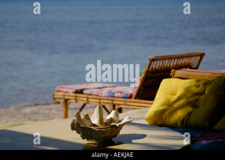 Sun lounger in Nuweiba also spelled: Nueiba a coastal town in the eastern part of Sinai Peninsula, Egypt - Stock Photo