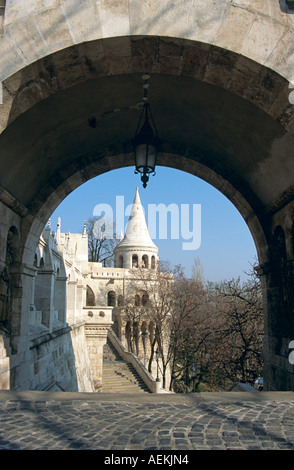 Fishermen's Bastion, Trinity Square, Castle Hill District, Budapest, Hungary - Stock Photo